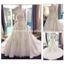 Alibaba Vestido De Novia A-line Sweetheart Neckline Embroidery Flowers Luxurious Long Train Wedding Dress 2016 A176