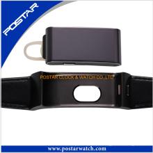 Reine Farbe Echtes Lederband Smart Watch Kundenlogo Gedruckte Armbanduhr