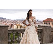 De alta qualidade rendas pérola bola vestido de noiva vestido de noiva