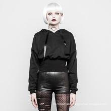 OPT-204 PUNKRAVE black long sleeve plain t-shirt punk women hooded t-shirt