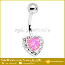 A argila de cristal clara de aço cirúrgica do Opal do rosa do coração de Argila pavimentou o anel da barriga do umbigo
