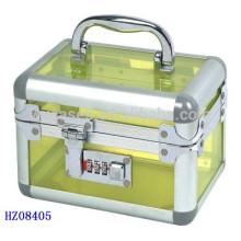 caso acrílico cosméticos com fechadura de combinação