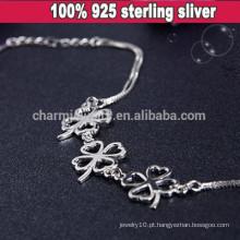 CYL006 925 jóias de prata, quatro folhas trevo pulseira prata esterlina, Namorada presentes de Natal Flores pulseira de corrente