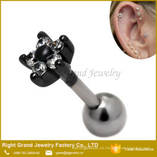 Aleación de Zinc 16g Clear Gem Crystal Flower Cartilage Tragus Adelante Helix Ear Studs Pendientes