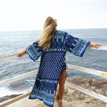 Roupas de verão boêmio beachwear para as mulheres estilo longo cardigan poliéster beachwear vestidos