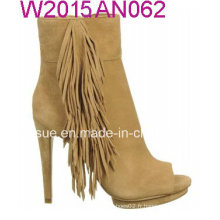 Tassels Style Yellow Upper Heel Shoes