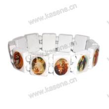 Großhandel Weiß Religiöse Holz Perle mit Saint Bild Rosenkranz Armband
