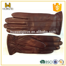 Dark Red Warm Leather Gloves Winter Top Goatskin Gloves for Young Ladies