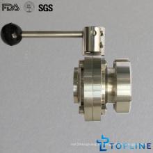 Válvula de borboleta sanitária de aço inoxidável com extremidade de solda / porca