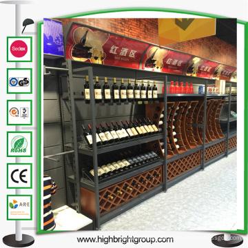 Supermercado de lujo estante de metal vino de madera
