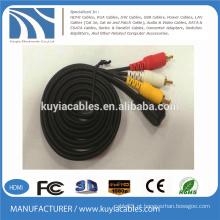 3.5mm plug estéreo para 3 rca cabo macho para macho ângulo direito 1 a 3 de áudio vídeo