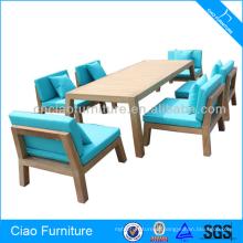 Grupo de madeira exterior da mesa de jantar da mobília de madeira da teca