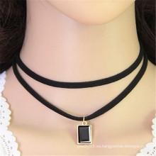 Ornamento coreano cuadrado doble cristal rhinestone tela negro collar de gargantilla