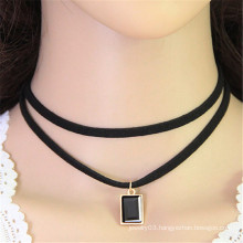 ornament Korean square double crystal rhinestone fabric black choker necklace