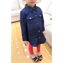 Girls' long sleeve denim flocking shirt