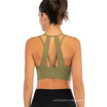 Soutien-gorge de sport yoga avec soutien-gorge à bretelles spaghetti