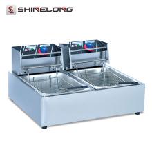 Chine professionnel entièrement automatique électrique double réservoirs et paniers friteuse industrielle
