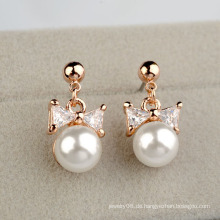 2016 Künstliche Perle und Diamant Ohrring süße Bogen Perle und Zirkon Anhänger Ohrring