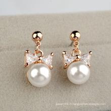 Boucles d'oreilles en perles artificielles et diamants 2016 Boucles d'oreilles en perle et en zircon