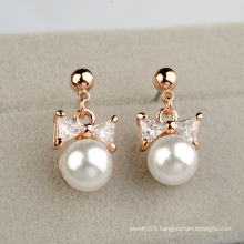 2016 Artificial Pearl And Diamond Earring sweet bow pearl and zircon pendant earring