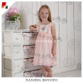 Wholesale kids cherry embroidered sleevless smocking dress