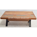 Recycle Wooden Top Cross Wrought Iron Leg Industrial Coffee Table