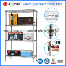 Heavy Duty 4 Tiers Home Decorate Chrome Speicher Wire Shelf