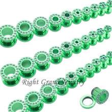Túnel piercing cristalino anodizado verde barato al por mayor