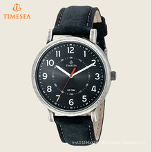 Timesea Originals Silver-Tone Watch with Black Leather Band 72500