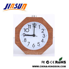 Natural Wood Octangle Shape Alarm Quartz Clock