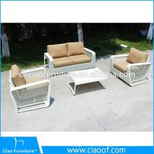 Mobiliário de jardim ao ar livre especial tecelagem conjunto de sofá de vime branco