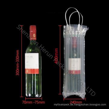 Kundenspezifische transparente PE Luft Säulen Tasche für Weinflasche