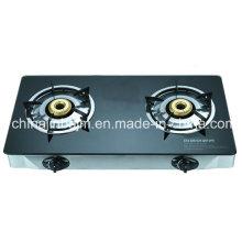 Cuisinière à gaz en acier inoxydable à 2 brûleurs en verre tempéré