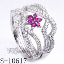 925 Sterling Silver Flower Pink Zirconia Women Ring (S-10617)