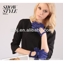 Ladies Navy Blue Color Pig Suede driving leather Gloves with bowknot on the back