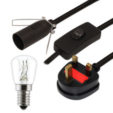 Salt Lamp white Lead UK Plug E14 switch 1.5mt cord Selenite Crystal lamp