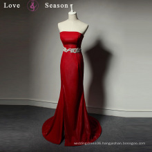 LSQ034 simple red strapless dress long womens side fork sexy with belt mermaid red dress