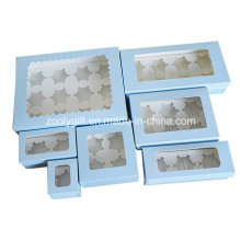 Take-out Papier Cupcake Box / gedruckte Karton Papier Cupcake Box mit Insert und Clear Window