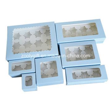 Take-out Papel Cupcake Box / papel impresso Paper Cupcake caixa com inserir e limpar janela