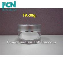 Prata Pequena redonda acrílica de plástico garrafa de creme cosmético 5g 15g 30g 50g 100g