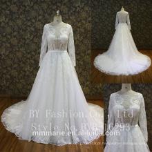 Long Sleeve Mermaid Lace Applique Custom Made Wedding Dresses