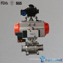 Stainless Steel Sanitary Pneumatic Ball Valve with Solenoid Valve