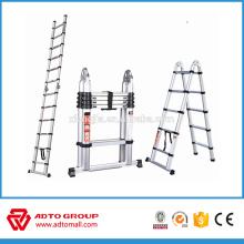 escalera telescópica lateral doble, escalera plegable de aluminio