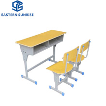 Hot Sale Adjustable Double Student Desk and Chair for Classroom Used