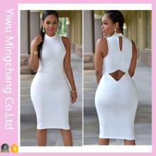 Wholesale Women High Neck Sleeveless White Sexy Club Dress