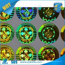 Высококачественная пользовательская голографическая наклейка для печати этикеток с круглыми золотыми голограммами