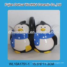 Novio doble pingüino en forma de cerámica olla con cucharas