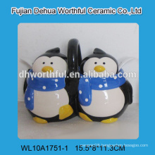 Novel double penguin shaped ceramic seasoning pot with spoons