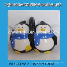 Novo pinguim duplo em forma de cerâmica potenciômetro com colheres