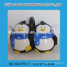Керамическая приправа с ложками в форме двойного пингвина с ложками